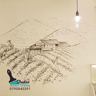 vẽ tranh tường trà sữa Cát nghi tea