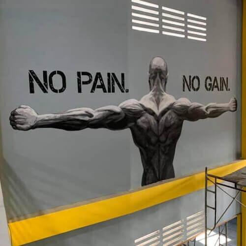 Vẽ Tranh Tường kẻ chữ phòng tập thể dục - studiotranhtuong.com