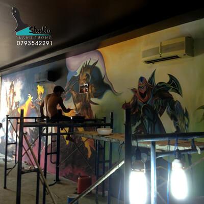Vẽ Tranh Tường 3D TẢ THỰC phòng net- trung tâm game uy tín, chất lượng - studiotranhtuong.com