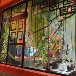vẽ tranh kính trang trí nhà phố - nhà hàng- shop thời trang - cafe - khách sạn
