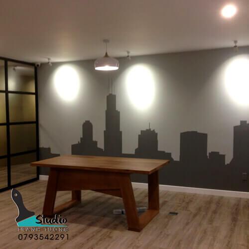 vẽ tranh tường văn phòng công ty shop thời trang- studiotranhtuong.com