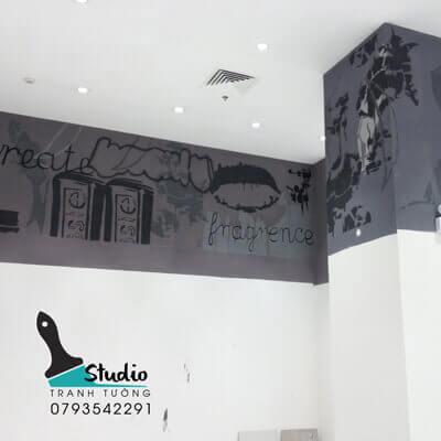vẽ tranh tường văn phòng công ty shop thời trang