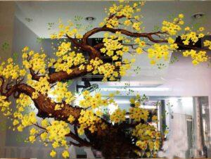 Vẽ tranh kính trang trí tết hoa đào hoa mai công ty căn hộ