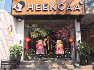 Vẽ tranh kính trang trí tết hoa đào hoa mai trà sữa Heekca