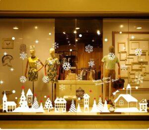 Vẽ tranh kính trang trí noel Giáng sinh công ty căn hộ