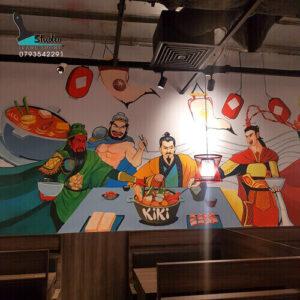 vẽ tranh tường nhà hàng lẩu kiki