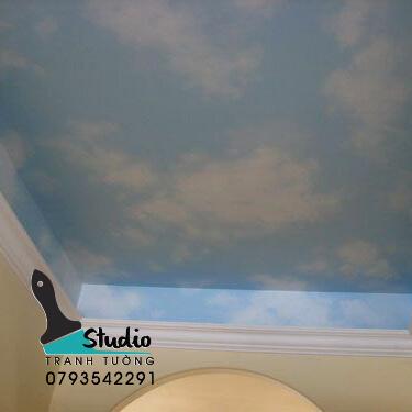 Vẽ Tranh Tường 3D tả thực trần mây